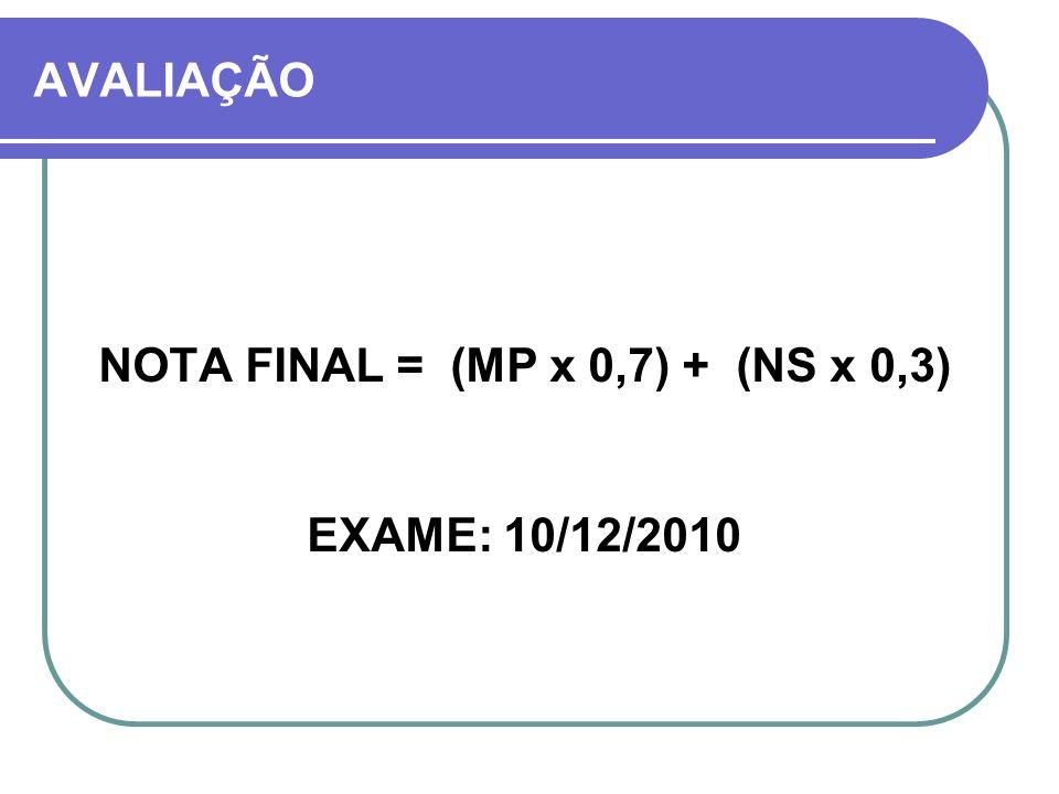 AVALIAÇÃO NOTA FINAL = (MP x 0,7) + (NS x 0,3) EXAME: 10/12/2010