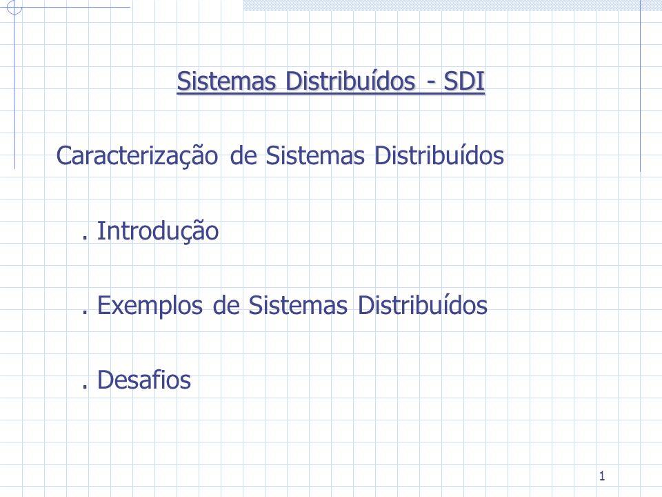 1 Sistemas Distribuídos - SDI Caracterização de Sistemas Distribuídos. Introdução. Exemplos de Sistemas Distribuídos. Desafios
