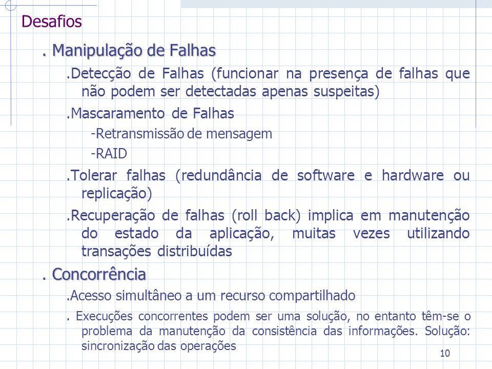 10 Desafios. Manipulação de Falhas.Detecção de Falhas (funcionar na presença de falhas que não podem ser detectadas apenas suspeitas).Mascaramento de