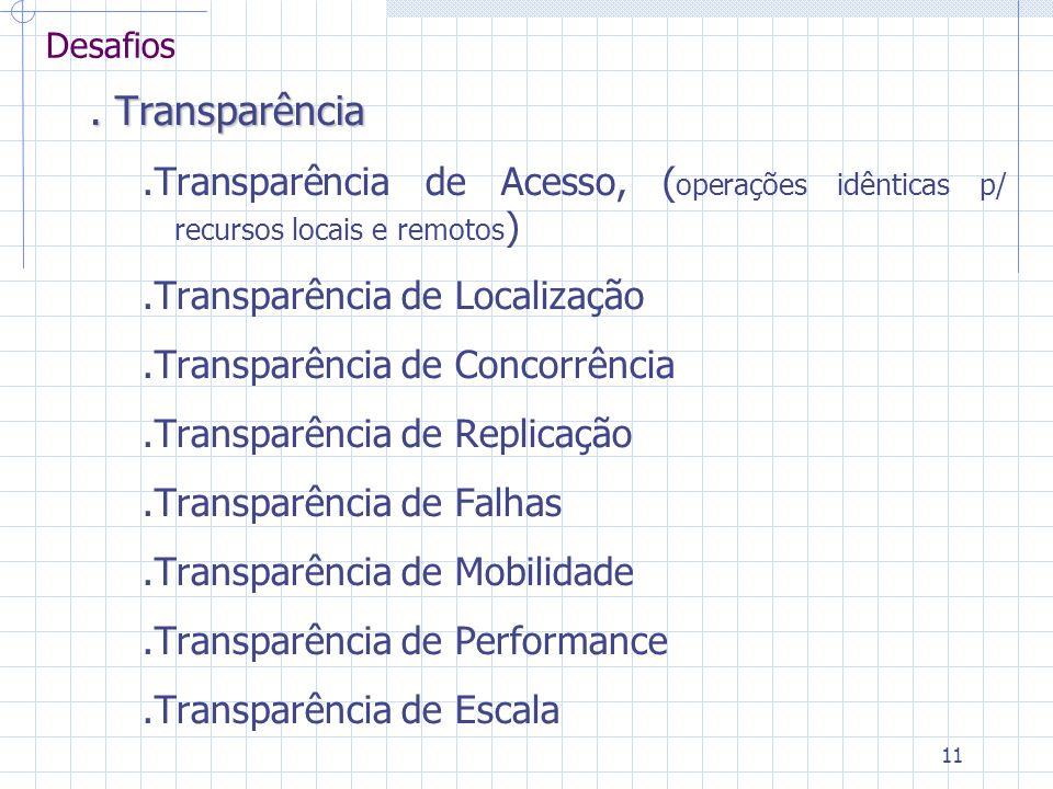 11 Desafios. Transparência.Transparência de Acesso, ( operações idênticas p/ recursos locais e remotos ).Transparência de Localização.Transparência de
