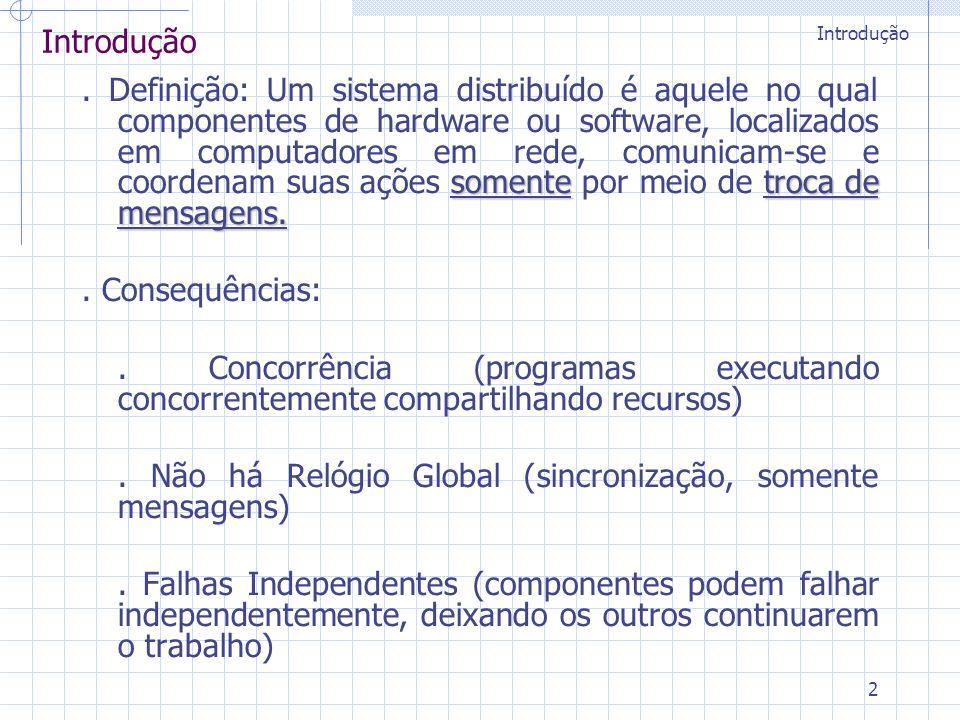2 Introdução somentetroca de mensagens.. Definição: Um sistema distribuído é aquele no qual componentes de hardware ou software, localizados em comput