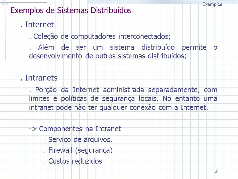 3 Exemplos de Sistemas Distribuídos. Internet. Coleção de computadores interconectados;. Além de ser um sistema distribuído permite o desenvolvimento