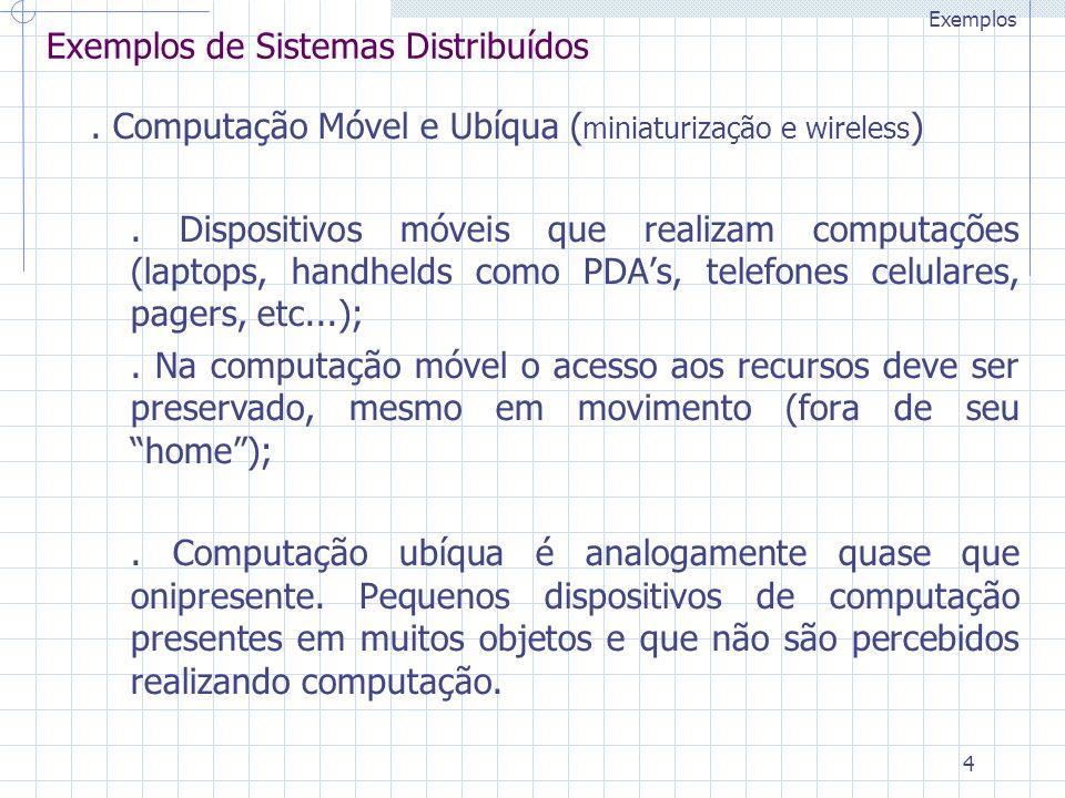 4 Exemplos de Sistemas Distribuídos. Computação Móvel e Ubíqua ( miniaturização e wireless ). Dispositivos móveis que realizam computações (laptops, h