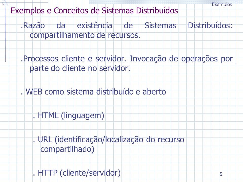 5 Exemplos e Conceitos de Sistemas Distribuídos.Razão da existência de Sistemas Distribuídos: compartilhamento de recursos..Processos cliente e servidor.