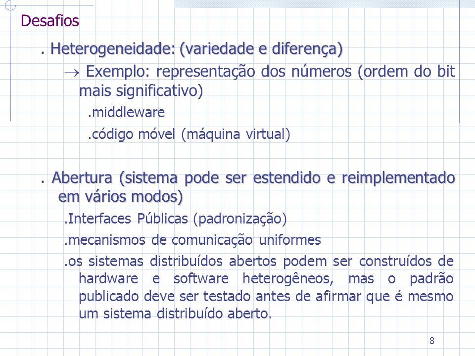 8 Heterogeneidade: (variedade e diferença). Heterogeneidade: (variedade e diferença) Exemplo: representação dos números (ordem do bit mais significati