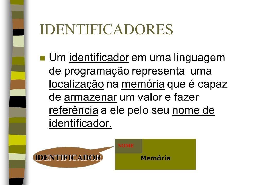 IDENTIFICADORES n Um identificador em uma linguagem de programação representa uma localização na memória que é capaz de armazenar um valor e fazer ref