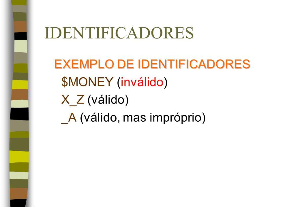 IDENTIFICADORES EXEMPLO DE IDENTIFICADORES $MONEY (inválido) X_Z (válido) _A (válido, mas impróprio)