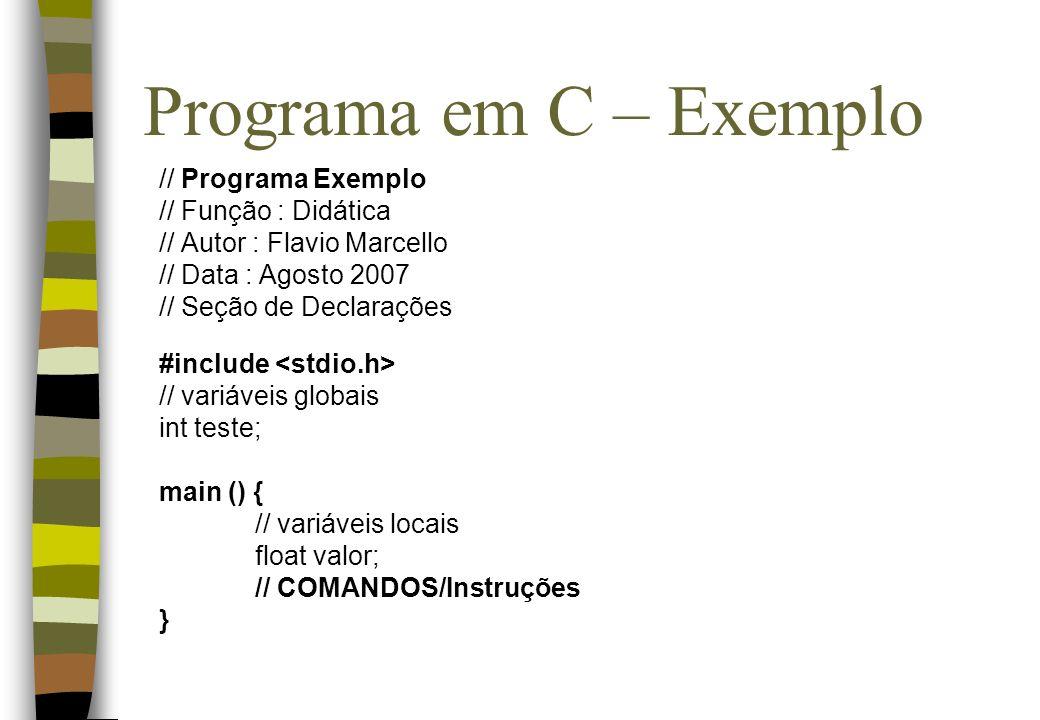 Programa em C – Exemplo // Programa Exemplo // Função : Didática // Autor : Flavio Marcello // Data : Agosto 2007 // Seção de Declarações #include //