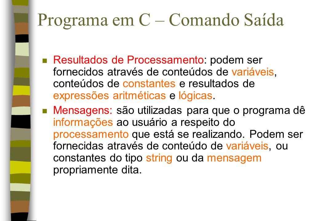 Programa em C – Comando Saída n Resultados de Processamento: podem ser fornecidos através de conteúdos de variáveis, conteúdos de constantes e resulta
