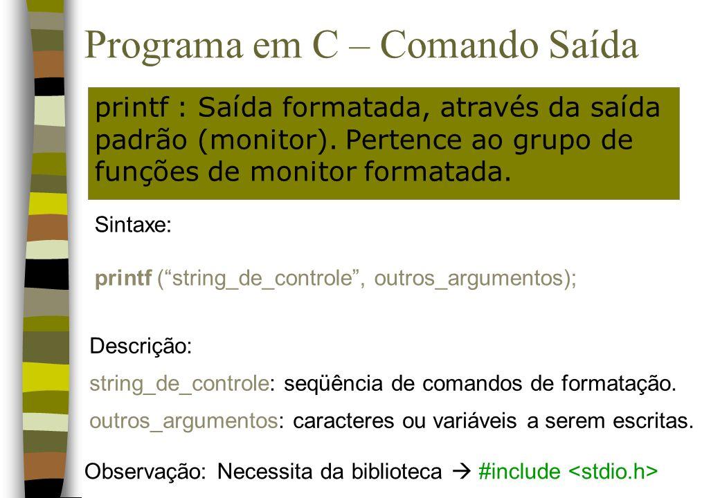Programa em C – Comando Saída printf : Saída formatada, através da saída padrão (monitor). Pertence ao grupo de funções de monitor formatada. Sintaxe: