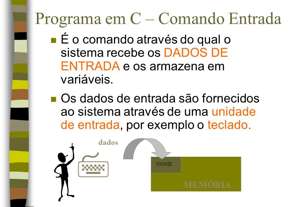 Programa em C – Comando Entrada n É o comando através do qual o sistema recebe os DADOS DE ENTRADA e os armazena em variáveis. n Os dados de entrada s