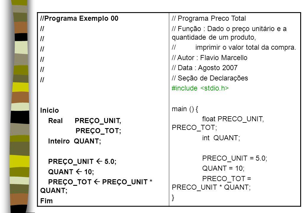 //Programa Exemplo 00 // Inicio Real PREÇO_UNIT, PREÇO_TOT; Inteiro QUANT; PREÇO_UNIT 5.0; QUANT 10; PREÇO_TOT PREÇO_UNIT * QUANT; Fim // Programa Pre