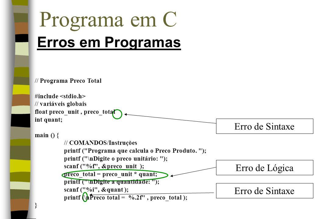 Programa em C Erros em Programas Erro de Lógica Erro de Sintaxe // Programa Preco Total #include // variáveis globais float preco_unit, preco_total in