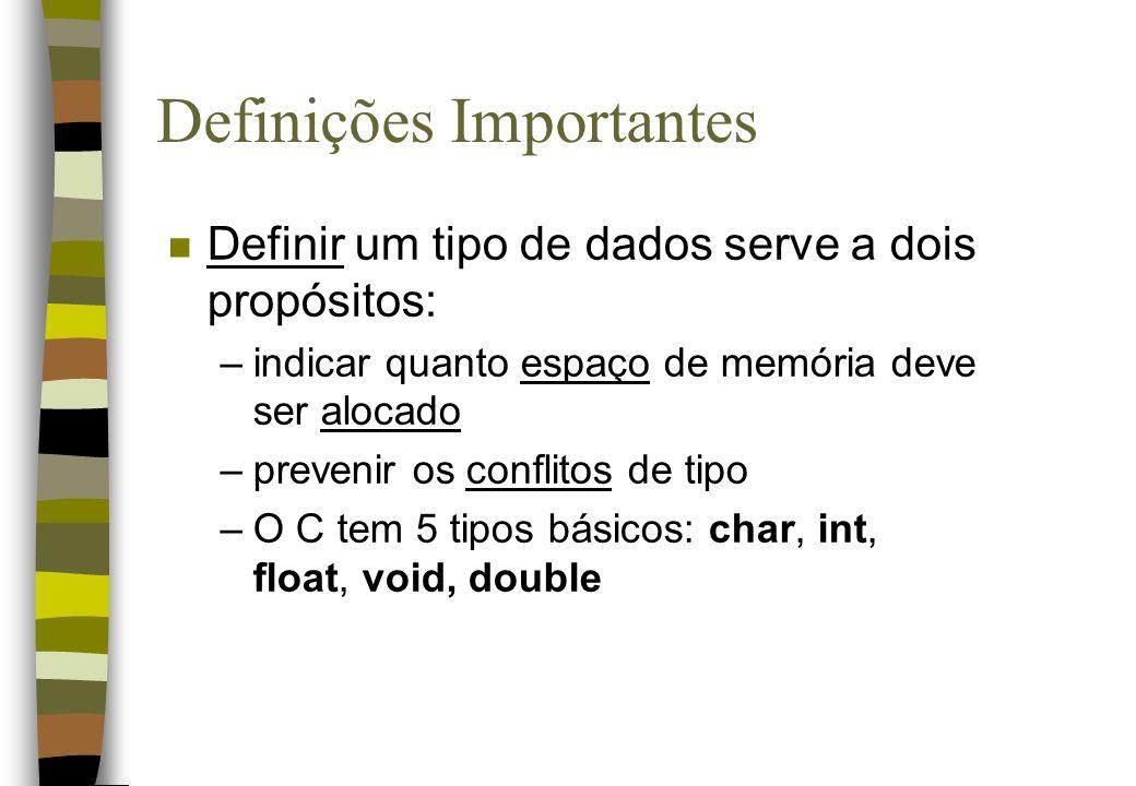 Definições Importantes n Definir um tipo de dados serve a dois propósitos: –indicar quanto espaço de memória deve ser alocado –prevenir os conflitos d
