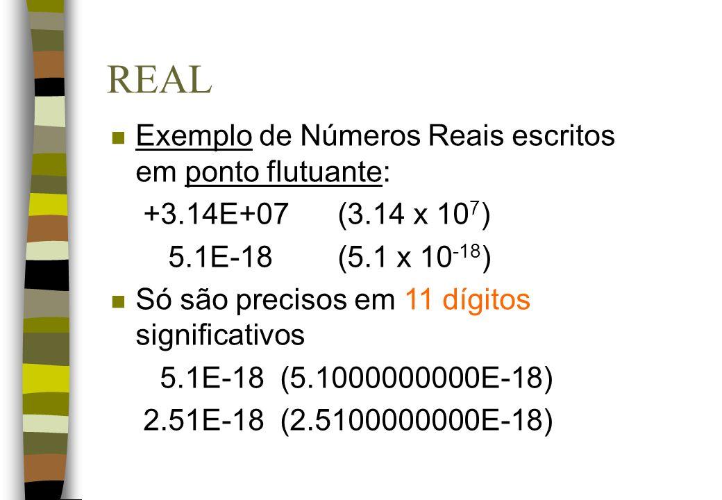 REAL n Exemplo de Números Reais escritos em ponto flutuante: +3.14E+07 (3.14 x 10 7 ) 5.1E-18 (5.1 x 10 -18 ) n Só são precisos em 11 dígitos signific