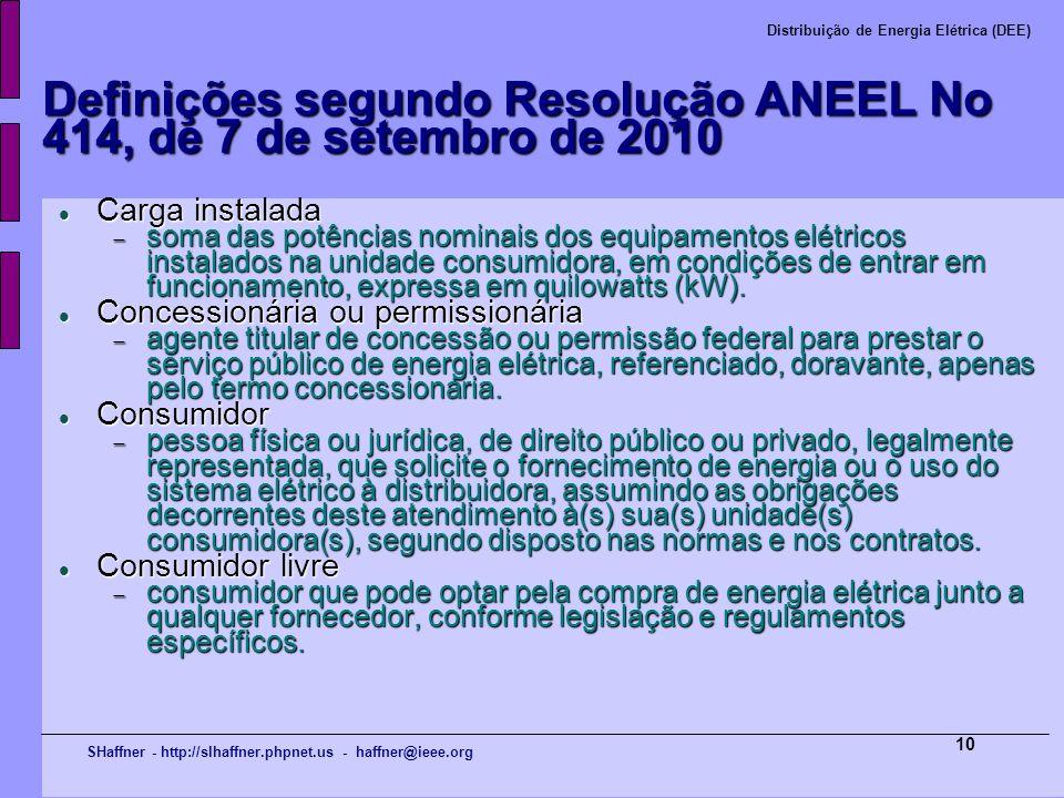 SHaffner - http://slhaffner.phpnet.us - haffner@ieee.org Distribuição de Energia Elétrica (DEE) 10 Definições segundo Resolução ANEEL No 414, de 7 de