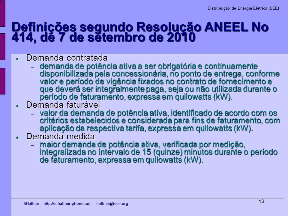 SHaffner - http://slhaffner.phpnet.us - haffner@ieee.org Distribuição de Energia Elétrica (DEE) 13 Definições segundo Resolução ANEEL No 414, de 7 de