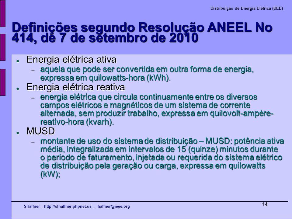 SHaffner - http://slhaffner.phpnet.us - haffner@ieee.org Distribuição de Energia Elétrica (DEE) 14 Definições segundo Resolução ANEEL No 414, de 7 de