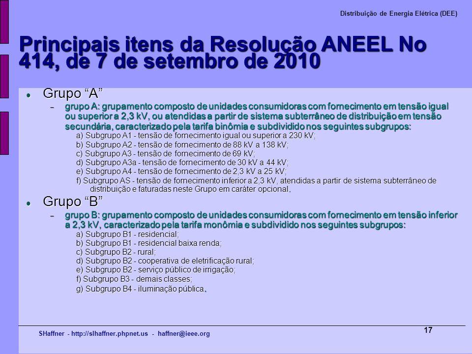 SHaffner - http://slhaffner.phpnet.us - haffner@ieee.org Distribuição de Energia Elétrica (DEE) 17 Principais itens da Resolução ANEEL No 414, de 7 de
