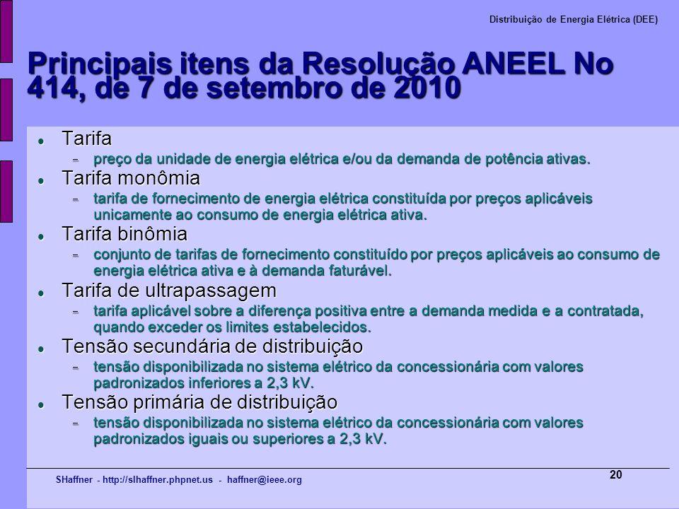 SHaffner - http://slhaffner.phpnet.us - haffner@ieee.org Distribuição de Energia Elétrica (DEE) 20 Principais itens da Resolução ANEEL No 414, de 7 de