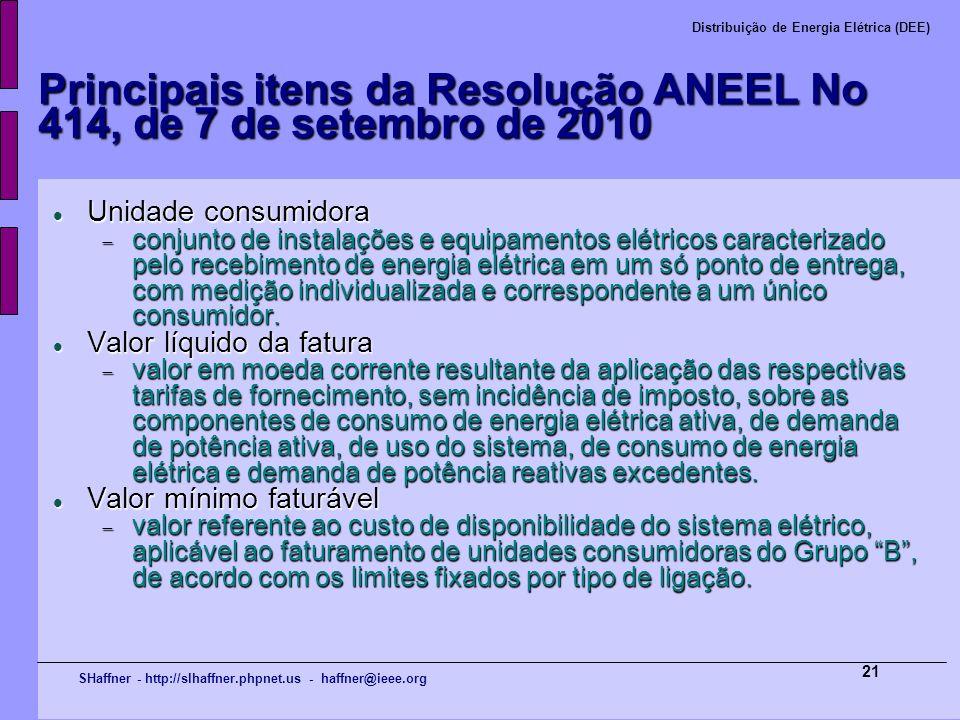 SHaffner - http://slhaffner.phpnet.us - haffner@ieee.org Distribuição de Energia Elétrica (DEE) 21 Principais itens da Resolução ANEEL No 414, de 7 de