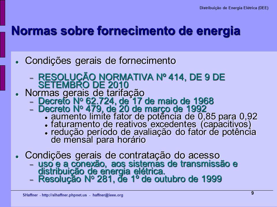 SHaffner - http://slhaffner.phpnet.us - haffner@ieee.org Distribuição de Energia Elétrica (DEE) 9 Normas sobre fornecimento de energia Condições gerai
