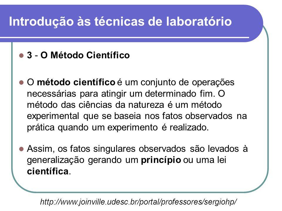 3 - O Método Científico O método científico é um conjunto de operações necessárias para atingir um determinado fim. O método das ciências da natureza