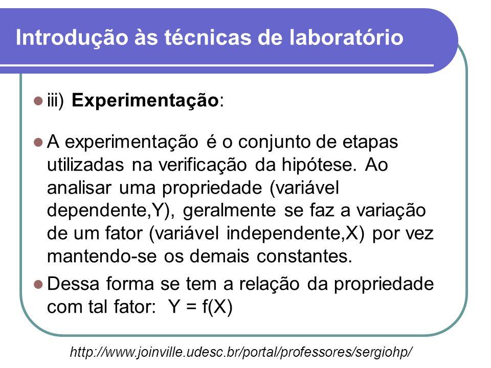 iii) Experimentação: A experimentação é o conjunto de etapas utilizadas na verificação da hipótese. Ao analisar uma propriedade (variável dependente,Y