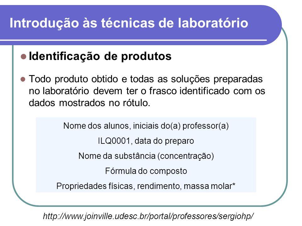 Identificação de produtos Todo produto obtido e todas as soluções preparadas no laboratório devem ter o frasco identificado com os dados mostrados no