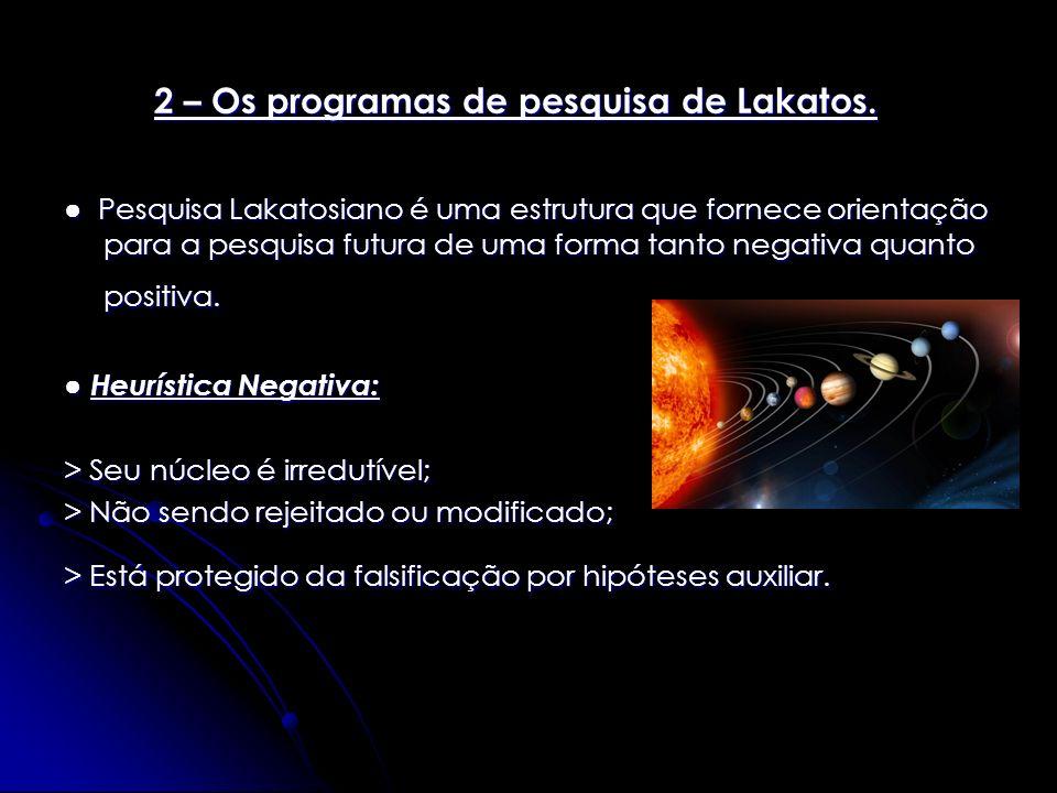 Pesquisa Lakatosiano é uma estrutura que fornece orientação para a pesquisa futura de uma forma tanto negativa quanto positiva. Pesquisa Lakatosiano é