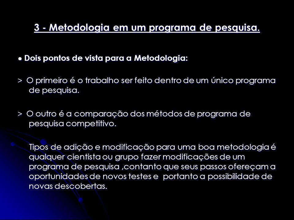 3 - Metodologia em um programa de pesquisa. Dois pontos de vista para a Metodologia: Dois pontos de vista para a Metodologia: > O primeiro é o trabalh