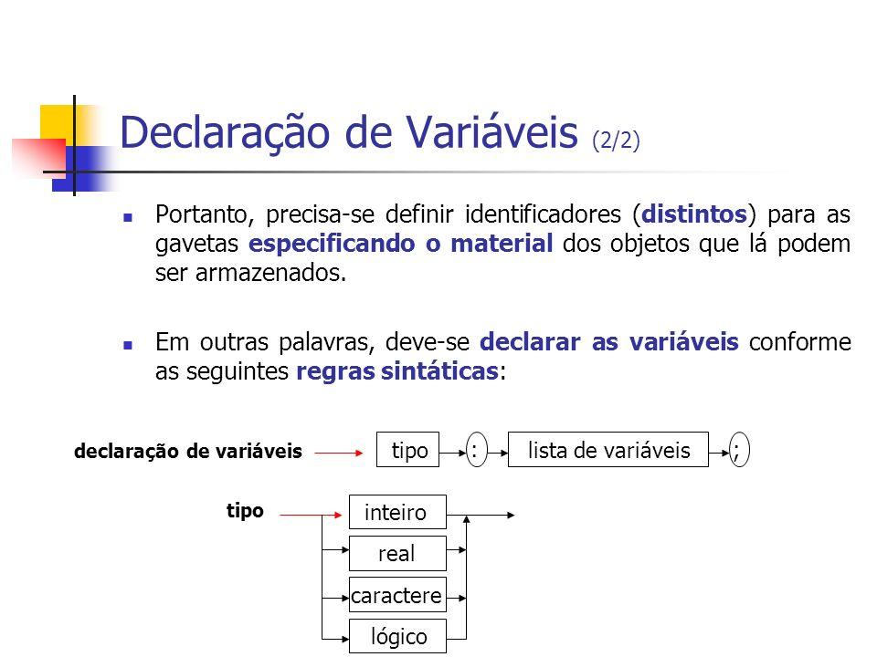 Declaração de Variáveis (2/2) Portanto, precisa-se definir identificadores (distintos) para as gavetas especificando o material dos objetos que lá pod