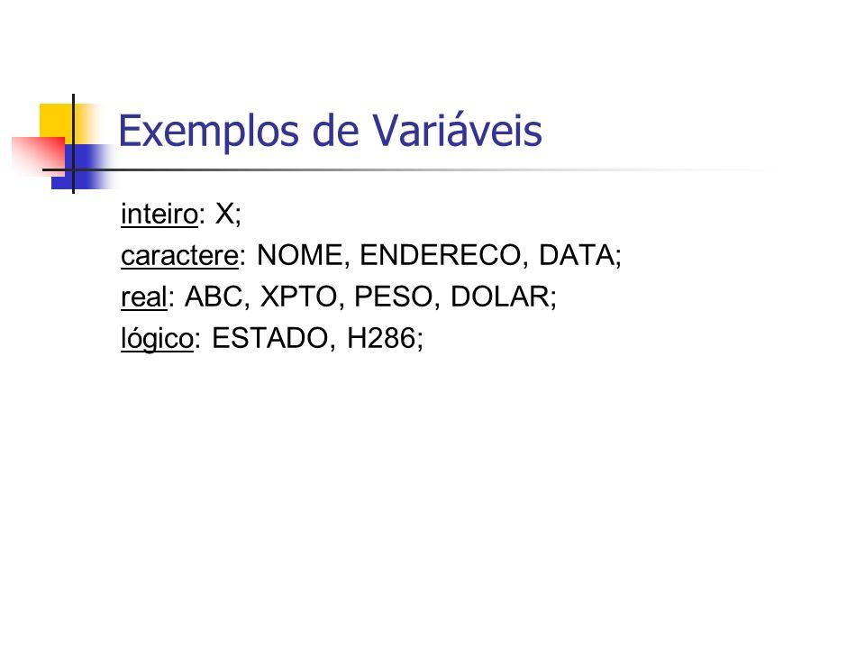 Exemplos de Variáveis inteiro: X; caractere: NOME, ENDERECO, DATA; real: ABC, XPTO, PESO, DOLAR; lógico: ESTADO, H286;