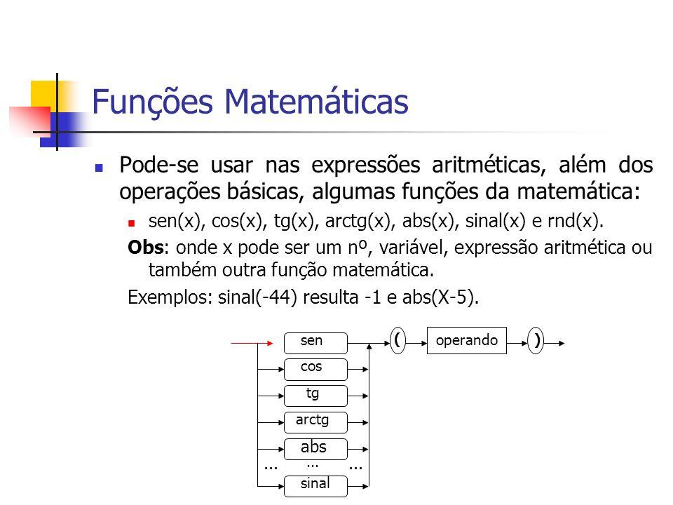 Funções Matemáticas Pode-se usar nas expressões aritméticas, além dos operações básicas, algumas funções da matemática: sen(x), cos(x), tg(x), arctg(x