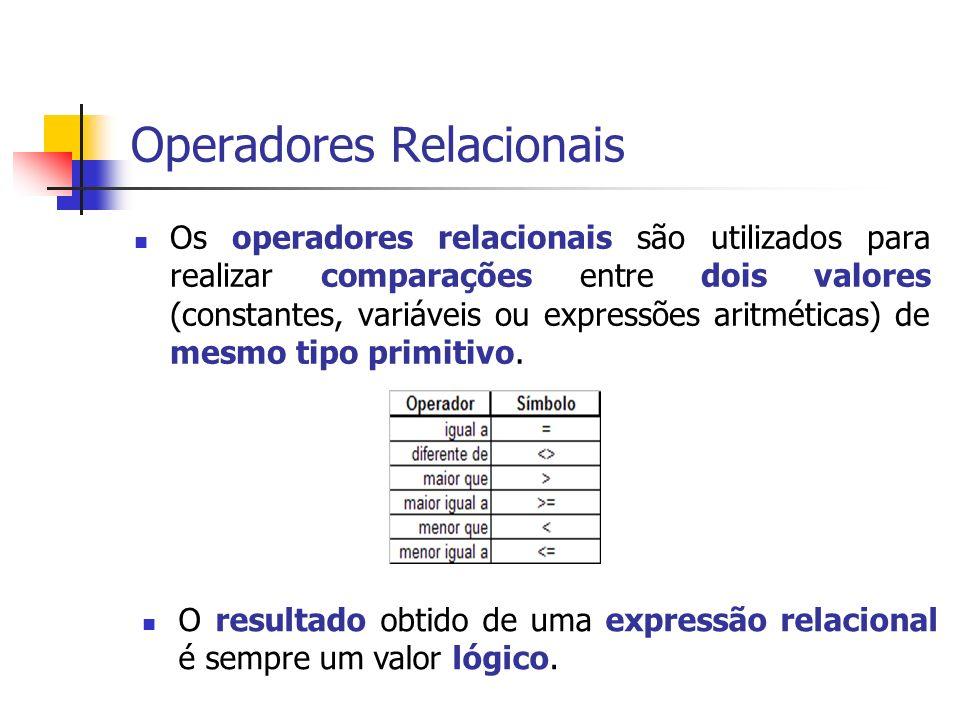 Operadores Relacionais Os operadores relacionais são utilizados para realizar comparações entre dois valores (constantes, variáveis ou expressões arit