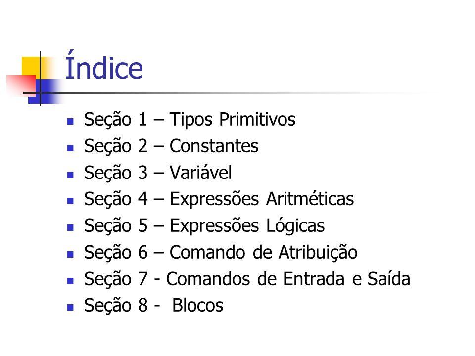 Índice Seção 1 – Tipos Primitivos Seção 2 – Constantes Seção 3 – Variável Seção 4 – Expressões Aritméticas Seção 5 – Expressões Lógicas Seção 6 – Coma