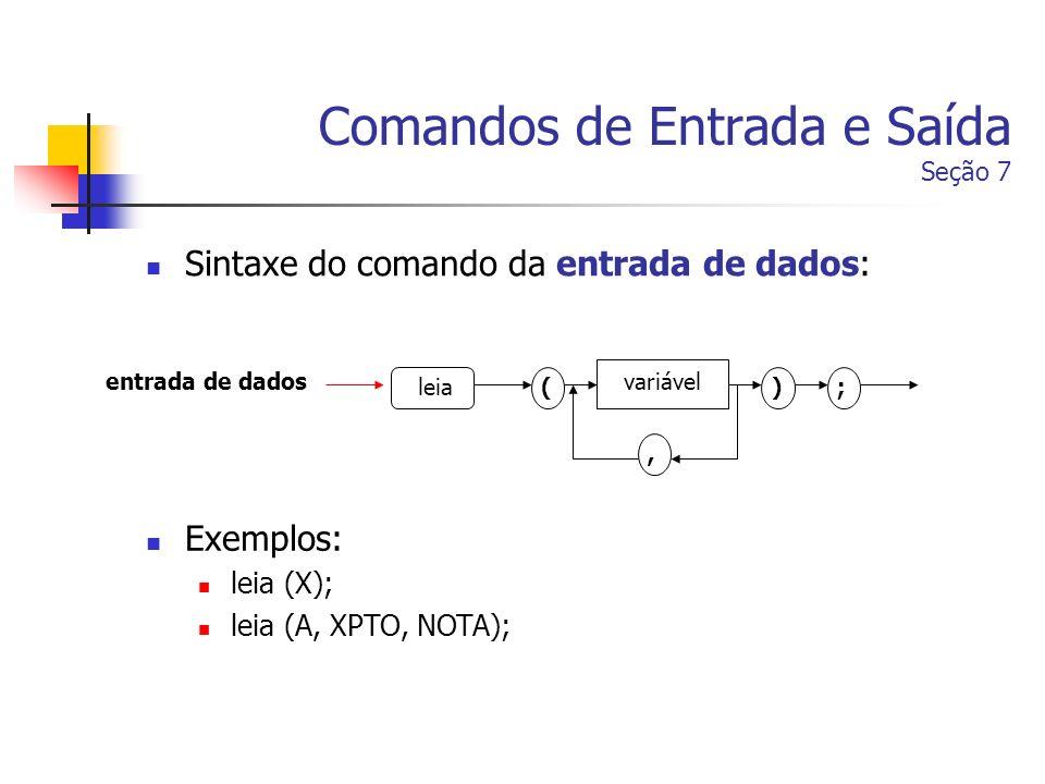 Comandos de Entrada e Saída Seção 7 Sintaxe do comando da entrada de dados: entrada de dados leia variável (), ; Exemplos: leia (X); leia (A, XPTO, NO