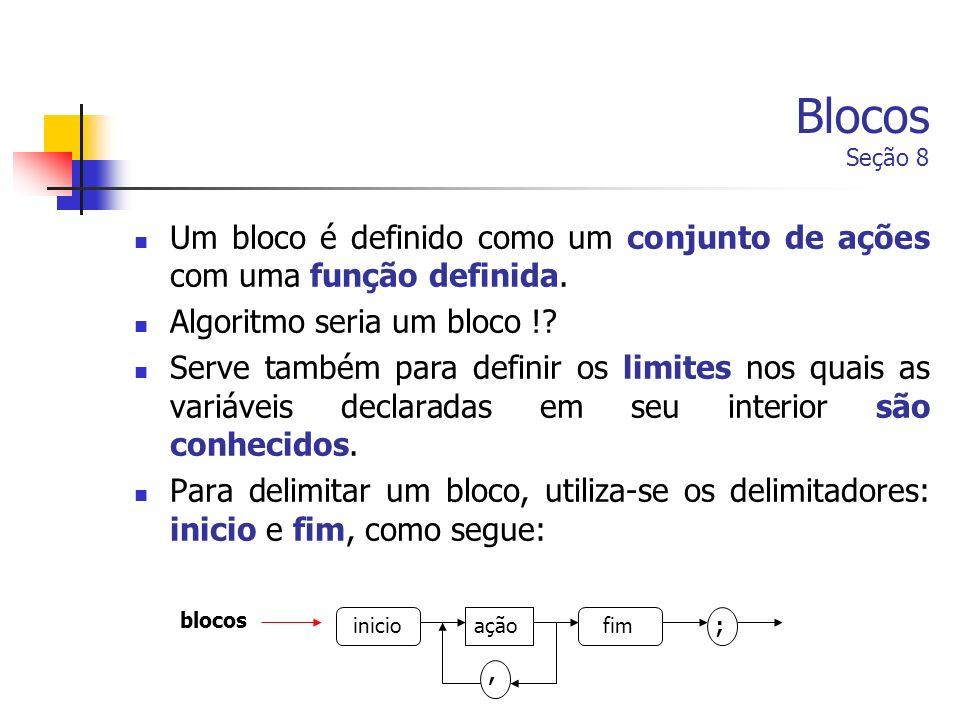 Blocos Seção 8 Um bloco é definido como um conjunto de ações com uma função definida. Algoritmo seria um bloco !? Serve também para definir os limites