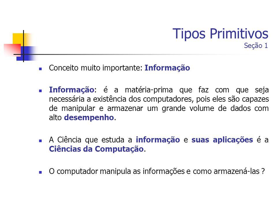 Tipos Primitivos Seção 1 Conceito muito importante: Informação Informação: é a matéria-prima que faz com que seja necessária a existência dos computad