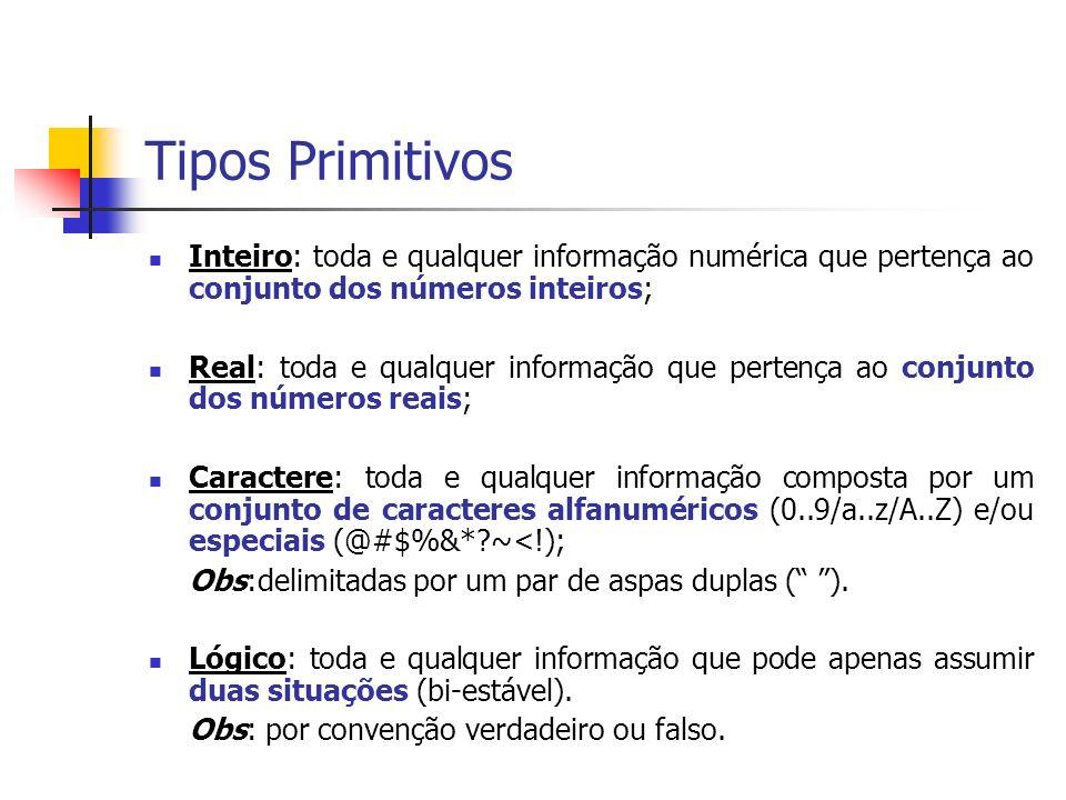 Tipos Primitivos Inteiro: toda e qualquer informação numérica que pertença ao conjunto dos números inteiros; Real: toda e qualquer informação que pert