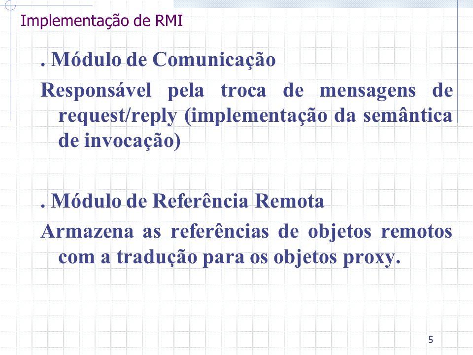 5 Implementação de RMI. Módulo de Comunicação Responsável pela troca de mensagens de request/reply (implementação da semântica de invocação). Módulo d