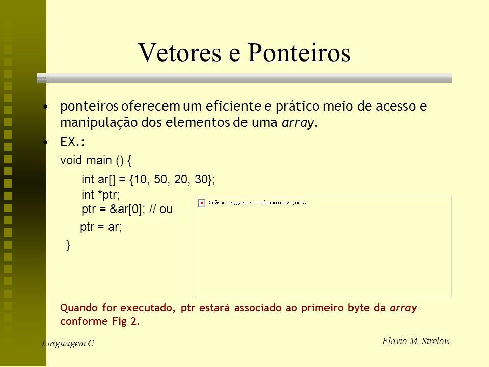 Flavio M. Strelow Linguagem C Vetores e Ponteiros ponteiros oferecem um eficiente e prático meio de acesso e manipulação dos elementos de uma array. E