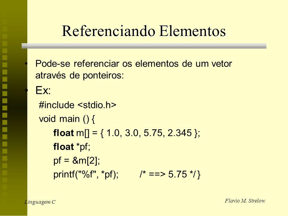 Flavio M. Strelow Linguagem C Referenciando Elementos Pode-se referenciar os elementos de um vetor através de ponteiros: Ex: #include void main () { f