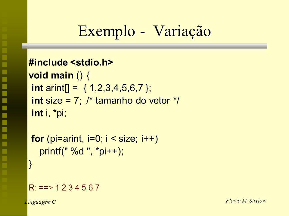 Flavio M. Strelow Linguagem C Exemplo - Variação #include void main (){ int arint[] = { 1,2,3,4,5,6,7 }; int size = 7;/* tamanho do vetor */ int i, *p