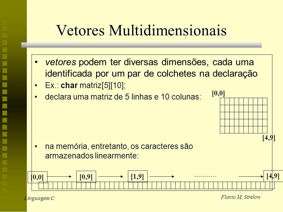 Flavio M. Strelow Linguagem C Vetores Multidimensionais vetores podem ter diversas dimensões, cada uma identificada por um par de colchetes na declara