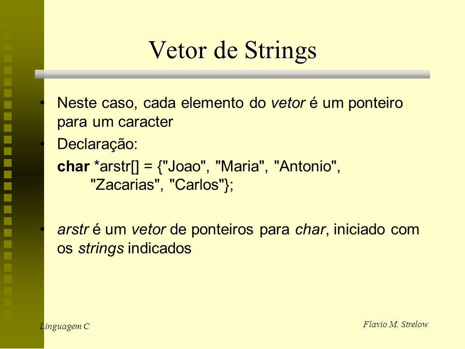 Flavio M. Strelow Linguagem C Vetor de Strings Neste caso, cada elemento do vetor é um ponteiro para um caracter Declaração: char *arstr[] = {