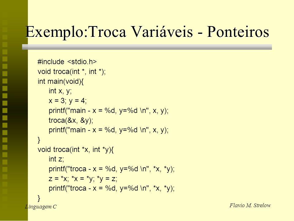 Flavio M. Strelow Linguagem C Exemplo:Troca Variáveis - Ponteiros #include void troca(int *, int *); int main(void){ int x, y; x = 3; y = 4; printf(