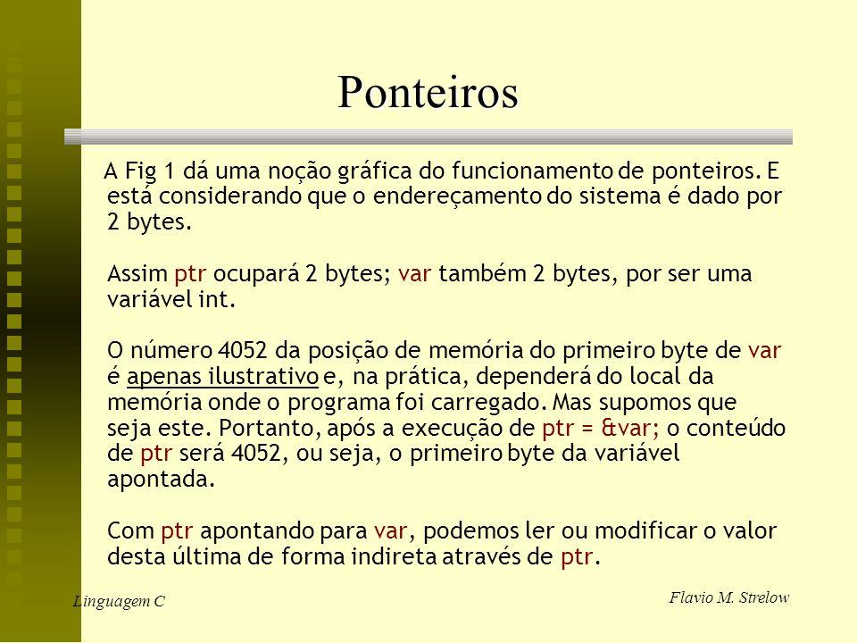 Flavio M. Strelow Linguagem C Ponteiros A Fig 1 dá uma noção gráfica do funcionamento de ponteiros. E está considerando que o endereçamento do sistema