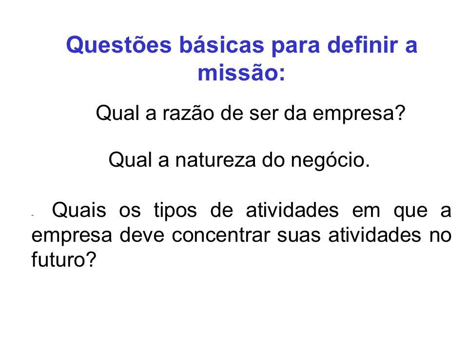Questões básicas para definir a missão: Qual a razão de ser da empresa? Qual a natureza do negócio. - Quais os tipos de atividades em que a empresa de