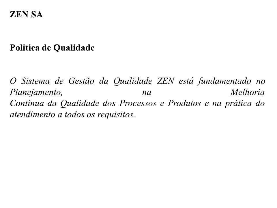 ZEN SA Politica de Qualidade O Sistema de Gestão da Qualidade ZEN está fundamentado no Planejamento, na Melhoria Contínua da Qualidade dos Processos e Produtos e na prática do atendimento a todos os requisitos.